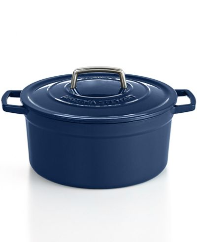 Martha Stewart Cobalt Blue Enamelled Cast Iron 5.7l. Round Dutch Oven Casserole ( Blueberry)
