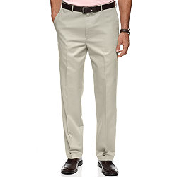 Haggar No Iron Cotton Classic Fit Flat Front Dress Pants (Khaki)