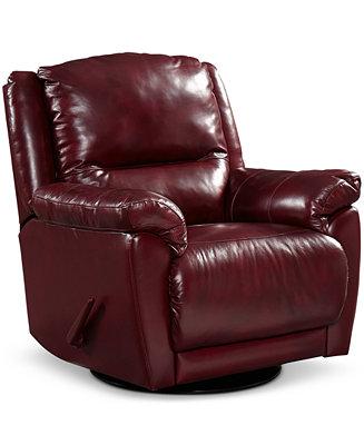 Hughstin Leather Swivel Glider Recliner Furniture Macy S