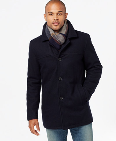 Tommy Hilfiger Melton Wool Walking Coat With Scarf Coats