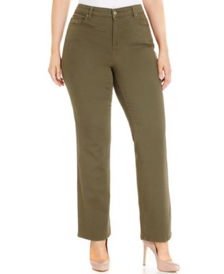 Charter Club Plus Size Lexington Colored Tummy-Control Straight Leg Jeans, Only at Macy's