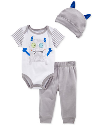 First Impressions Baby Boys 3 Piece Monster Bodysuit