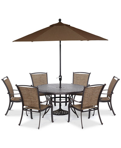 cambrian outdoor cast and aluminum 7 pc dining set 60 round dining