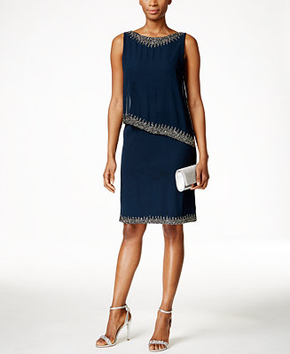 J Kara Beaded Capelet Dress Dresses Women Macy S