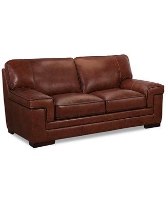 Myars Leather Loveseat Furniture Macy S