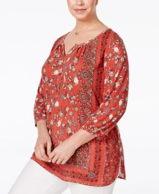 Style & Co. Plus Size Handkerchief-Print Top, Only at Macy's