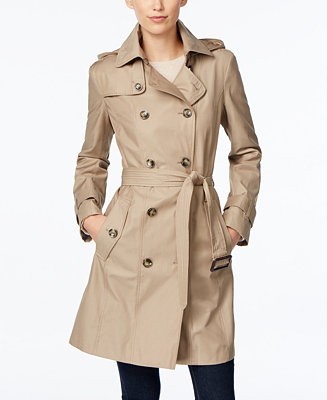 London Fog Petite All Weather Hooded Trench Coat Coats