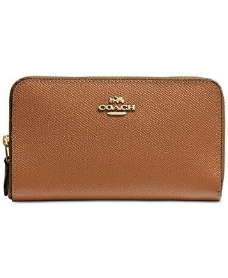 Coach Medium Zip Around Wallet In Crossgrain Leather