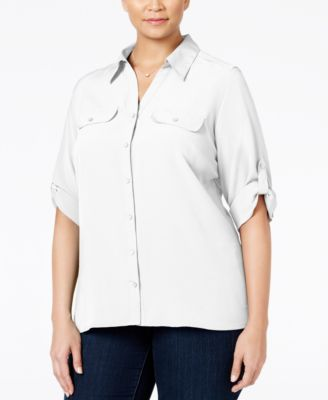 NY Collection Plus Size Crepe Utility Blouse