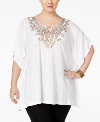 JM Collection Plus Size Embellished Keyhole Poncho, Only at Macy's