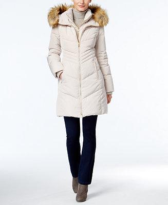Jones New York Faux Fur Trim Hooded Down Puffer Coat