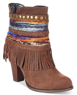 Dolce by Mojo Moxy Bronco Western Fringe Booties - Boots - Shoes - Macy's