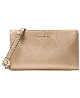 0d2d289964a2 Michael Kors Michael Large Crossbody Clutch In Pale Gold | ModeSens