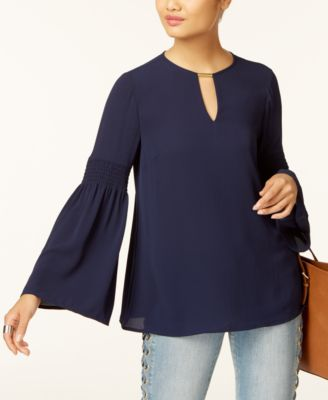 MICHAEL KORS Michael  Embellished Bell-Sleeve Top in True Navy