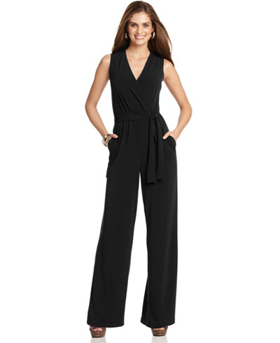 Ny Collection Petite Surplice Belted Wide Leg Jumpsuit