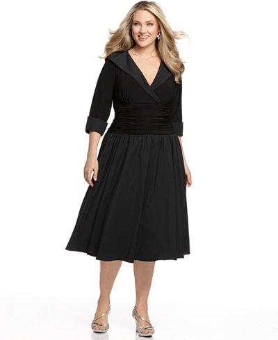 Jessica Howard Plus Size Portrait Collar A Line Dress