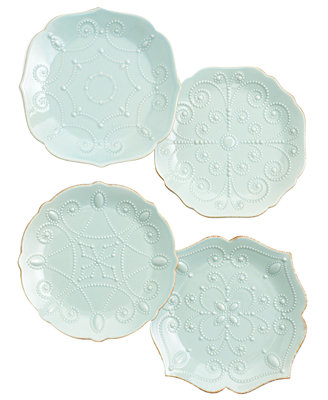 Lenox Dinnerware Set Of 4 French Perle Ice Blue Assorted