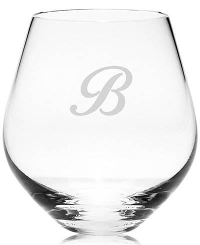 Lenox tuscany monogram stemware set of 4 script letter stemless red wine glasses all - Lenox stemless red wine glasses ...