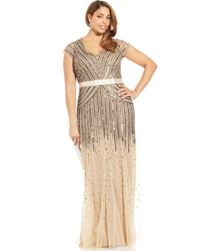 Adrianna papell plus size cap sleeve beaded sequined gown for Macys plus size wedding dresses