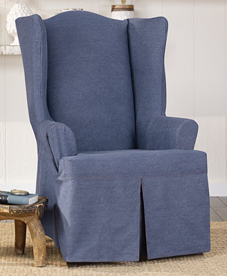 Sure Fit Authentic Denim Wing Chair Slipcover Slipcovers