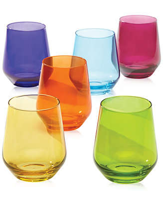 Lenox tuscany color stemware collection set of 6 stemless wine glasses all glassware - Lenox stemless red wine glasses ...