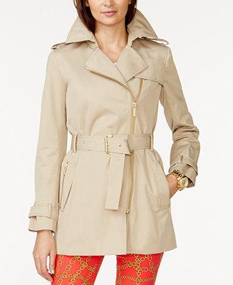 Michael Michael Kors Belted Front Zip Trench Coat Coats