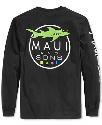 Maui and sons men 39 s shark logo graphic print long sleeve t for T shirt printing maui