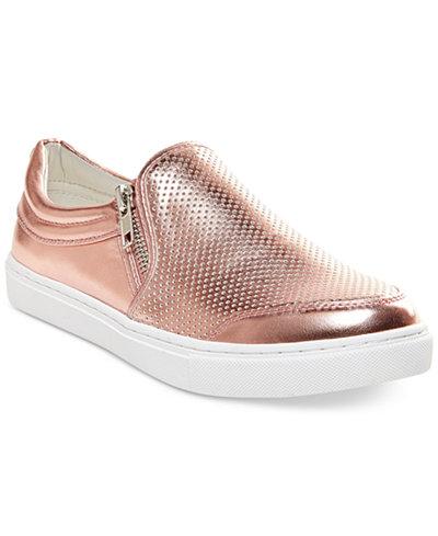 Steve Madden Zipper Tennis Shoes Rose Gold