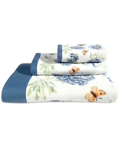 Lenox Blue Floral Garden Bath Towel Bathroom Accessories