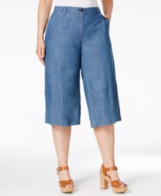 MICHAEL Michael Kors Plus Size Cadet Wash Denim Culotte Jeans