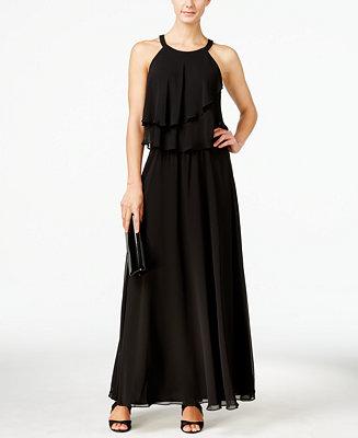 MSK Tiered Chiffon Halter Gown - Dresses - Women - Macy's