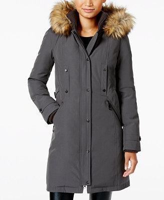 Vince Camuto Faux Fur Trim Hooded Parka Coats Women