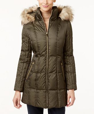 INC International Concepts Faux-Fur-Trim Quilted Puffer ...