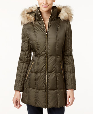 Inc International Concepts Faux Fur Trim Quilted Puffer