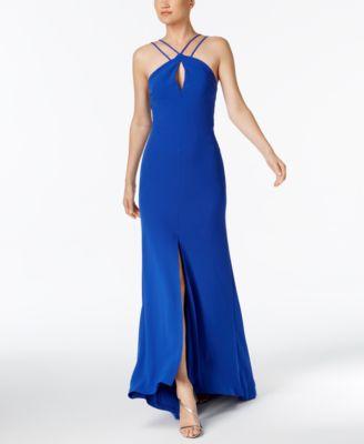 CALVIN KLEIN Keyhole Halter Gown in Blue