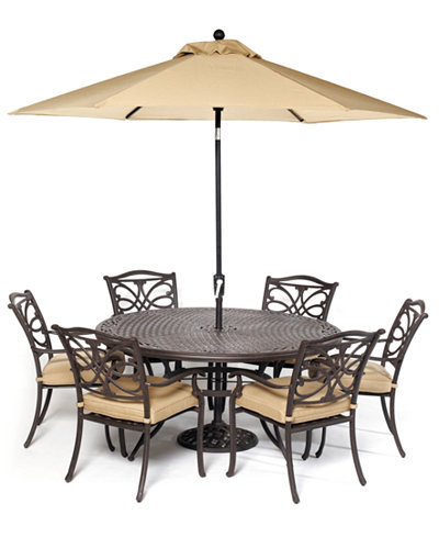 kingsley outdoor cast aluminum 7 pc dining set 60 round dining