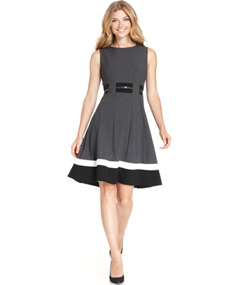 Calvin Klein Colorblocked Belted Fit Amp Flare Dress