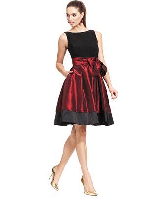 Sl Fashions Sleeveless Pleated Side Bow Dress Dresses