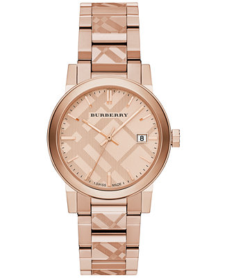 Burberry Unisex Swiss Rose Gold Ion Plated Stainless Steel