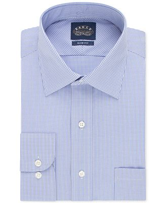 Eagle non iron slim fit gingham dress shirt dress shirts for Slim fit non iron dress shirts