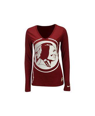 Women's Washington Redskins Nike White Take it Long Long Sleeve T-Shirt