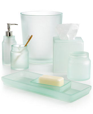 Martha stewart collection sea glass frost bath accessories for Bath countertop accessories