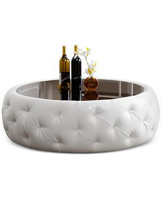 Clydell Round Faux Leather Coffee Table Direct Ship Furniture Macy 39 S