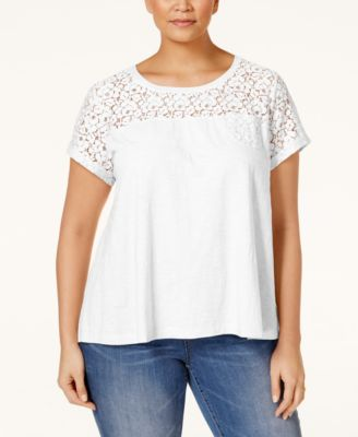 Style & Co. Plus Size Lace-Yoke T-Shirt, Only at Macy's