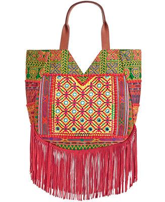 Sam Edelman Lauren Embroidered Fringe Hobo Handbags