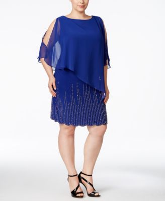 Xscape Plus Size Embellished Chiffon Capelet Shift Dress
