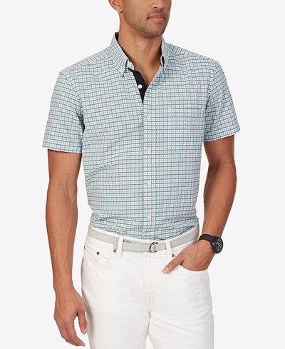 Nautica men 39 s check seersucker short sleeve shirt casual for Mens short sleeve seersucker shirts