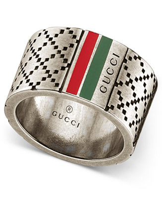 Gucci Men's Sterling Silver Diamond Pattern Wide Ring ...