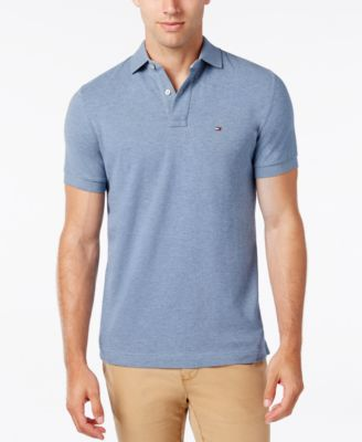TOMMY HILFIGER Men'S Custom-Fit Ivy Polo in Surf Heather