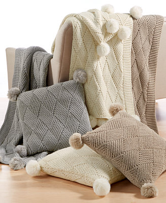 Martha Stewart Collection Basketweave Pom Pom Throw And